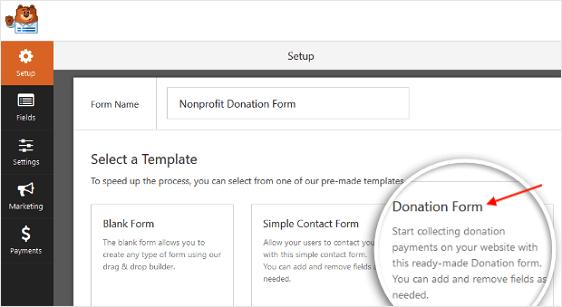 ricevere donazioni online modulo di contatto